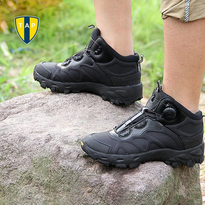 Esdy Men Hiking Boots Lacing System Boots Military Tactical Combat Waterproof-TAP Outdoor Products Mall-Black-6.5-Bargain Bait Box