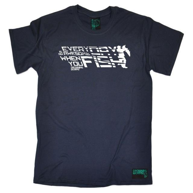 Everyday Awesome Fish Mens Drowning Worms T-Shirt Tee Birthday Gear Fishinger-Shirts-Bargain Bait Box-Navy-S-Bargain Bait Box
