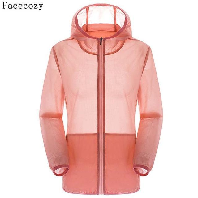 Facecozy Lovers Camping Jacket Women Hooded Transparent Quick Dry Coat Anti Uv-Jackets-Bargain Bait Box-pink-S-Bargain Bait Box