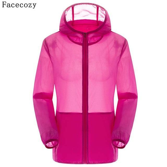 Facecozy Lovers Camping Jacket Women Hooded Transparent Quick Dry Coat Anti Uv-Jackets-Bargain Bait Box-rose red-S-Bargain Bait Box