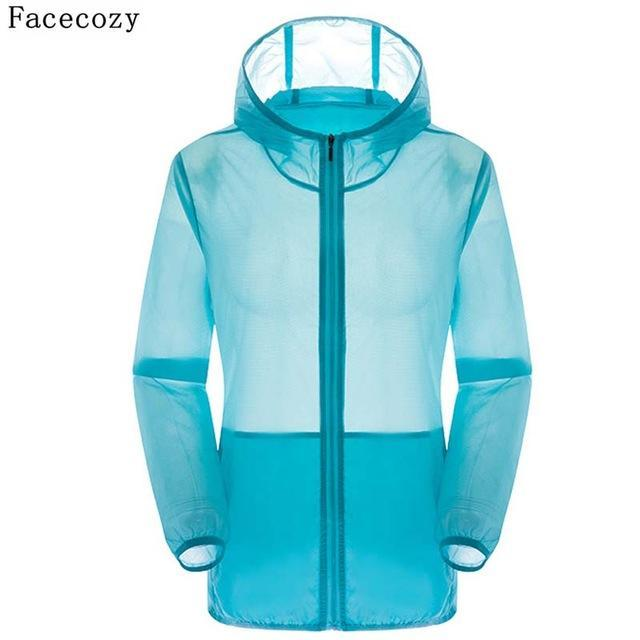 Facecozy Lovers Camping Jacket Women Hooded Transparent Quick Dry Coat Anti Uv-Jackets-Bargain Bait Box-sky blue-S-Bargain Bait Box