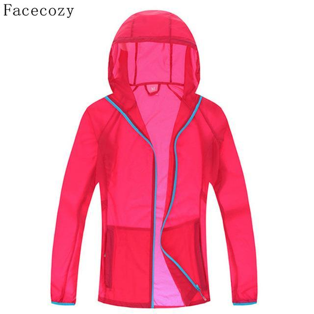 Facecozy Lovers Quick Dry Fishing Shirt Women Hooded Solid Color Transparent-Hoodies-Bargain Bait Box-women rose red-S-Bargain Bait Box