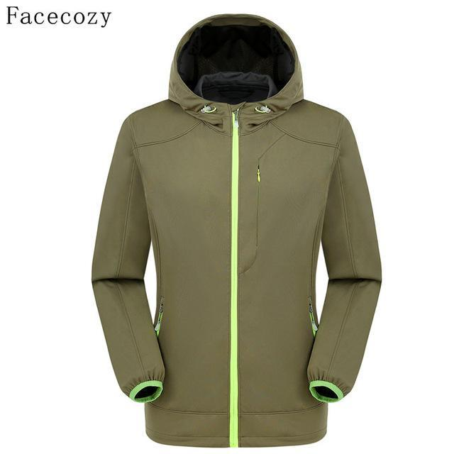 Facecozy Men Fishing Jacket Hooded Camping Jackets Front Zipper 1 Layer Thin-Jackets-Bargain Bait Box-army greeen-S-Bargain Bait Box