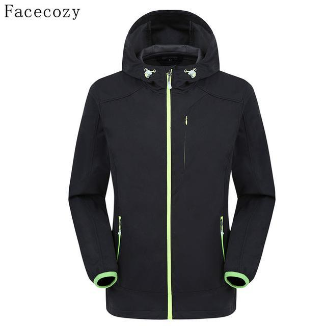 Facecozy Men Fishing Jacket Hooded Camping Jackets Front Zipper 1 Layer Thin-Jackets-Bargain Bait Box-black-M-Bargain Bait Box