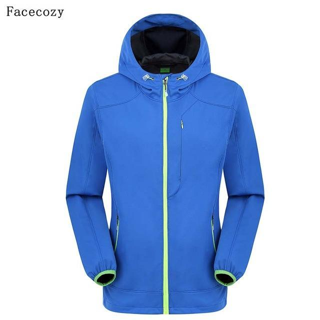Facecozy Men Fishing Jacket Hooded Camping Jackets Front Zipper 1 Layer Thin-Jackets-Bargain Bait Box-blue-S-Bargain Bait Box