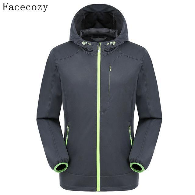 Facecozy Men Fishing Jacket Hooded Camping Jackets Front Zipper 1 Layer Thin-Jackets-Bargain Bait Box-dark gray-S-Bargain Bait Box