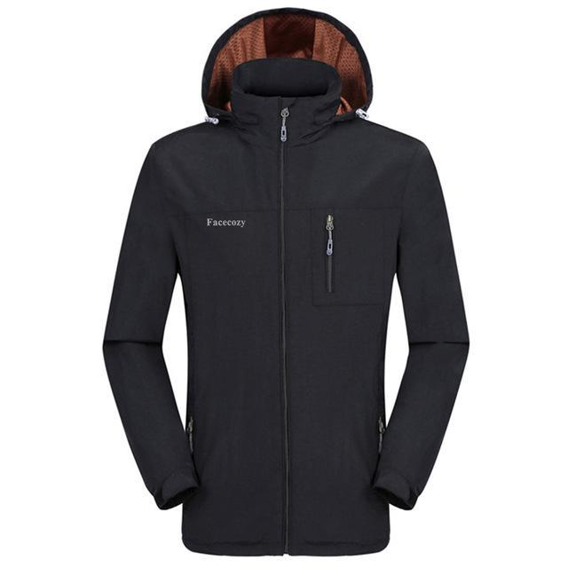 Facecozy Men Windproof Jackets 1 Layer Hooded Thin Breathable Coat Male-Jackets-Bargain Bait Box-Black-XL-Bargain Bait Box