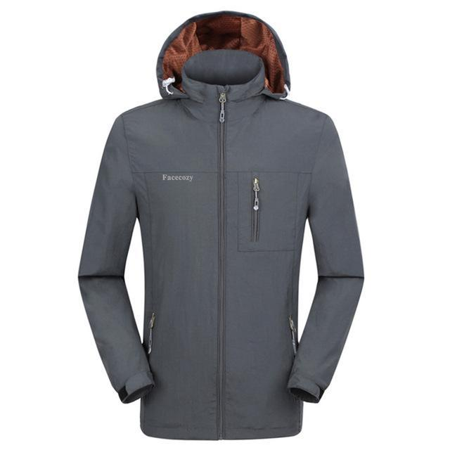 Facecozy Men Windproof Jackets 1 Layer Hooded Thin Breathable Coat Male-Jackets-Bargain Bait Box-Grey-XL-Bargain Bait Box