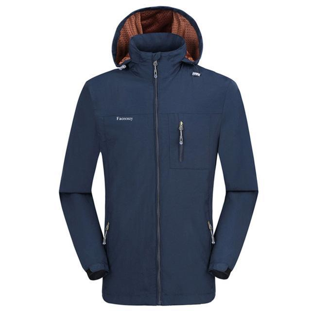 Facecozy Men Windproof Jackets 1 Layer Hooded Thin Breathable Coat Male-Jackets-Bargain Bait Box-Navy Blue-XL-Bargain Bait Box