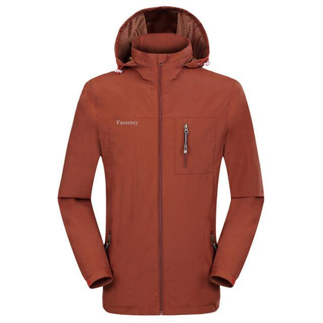 Facecozy Men Windproof Jackets 1 Layer Hooded Thin Breathable Coat Male-Jackets-Bargain Bait Box-Orange-XL-Bargain Bait Box