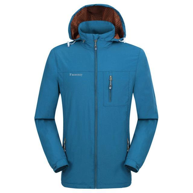 Facecozy Men Windproof Jackets 1 Layer Hooded Thin Breathable Coat Male-Jackets-Bargain Bait Box-Peacock Blue-XL-Bargain Bait Box
