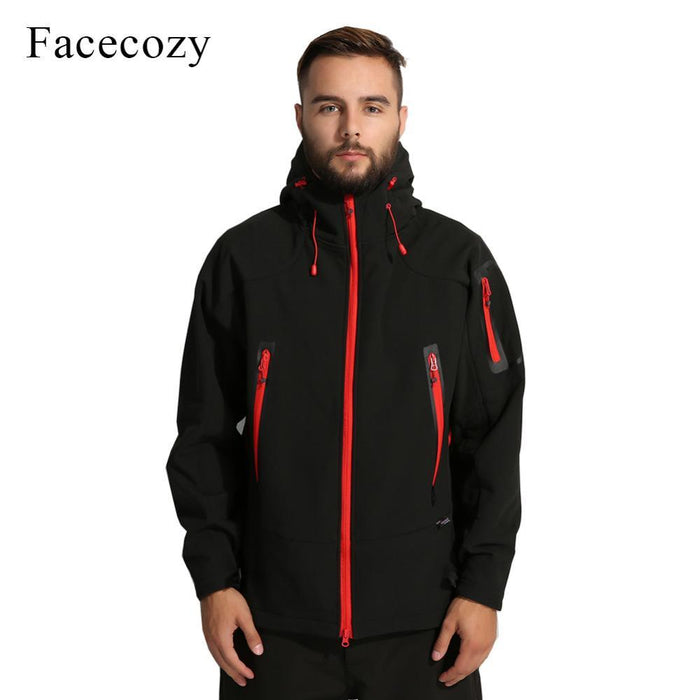 Facecozy Men'S Breathable Camping Softshell Jacket Front Zipper Hooded Thermal-Jackets-Bargain Bait Box-black-M-Bargain Bait Box