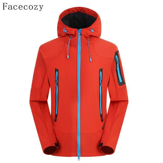 Facecozy Men'S Breathable Camping Softshell Jacket Front Zipper Hooded Thermal-Jackets-Bargain Bait Box-china red-M-Bargain Bait Box