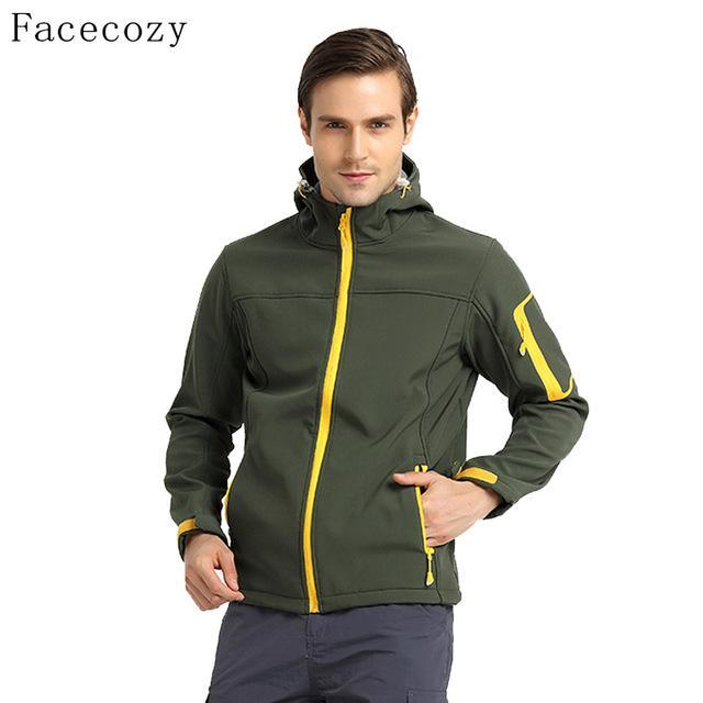 Facecozy Men'S Softshell Jacket Quick Dry Breathable Hooded Windproof Fishing-Jackets-Bargain Bait Box-army green-S-Bargain Bait Box