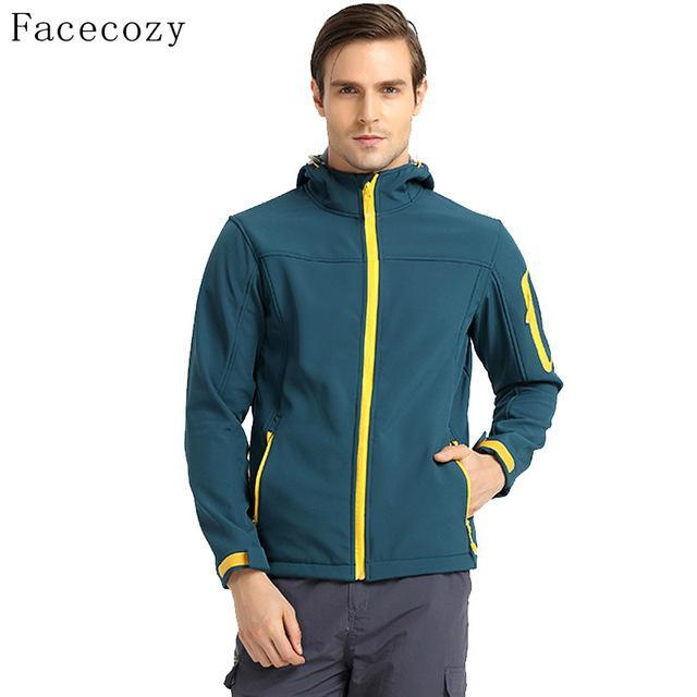 Facecozy Men'S Softshell Jacket Quick Dry Breathable Hooded Windproof Fishing-Jackets-Bargain Bait Box-peacock blue-S-Bargain Bait Box