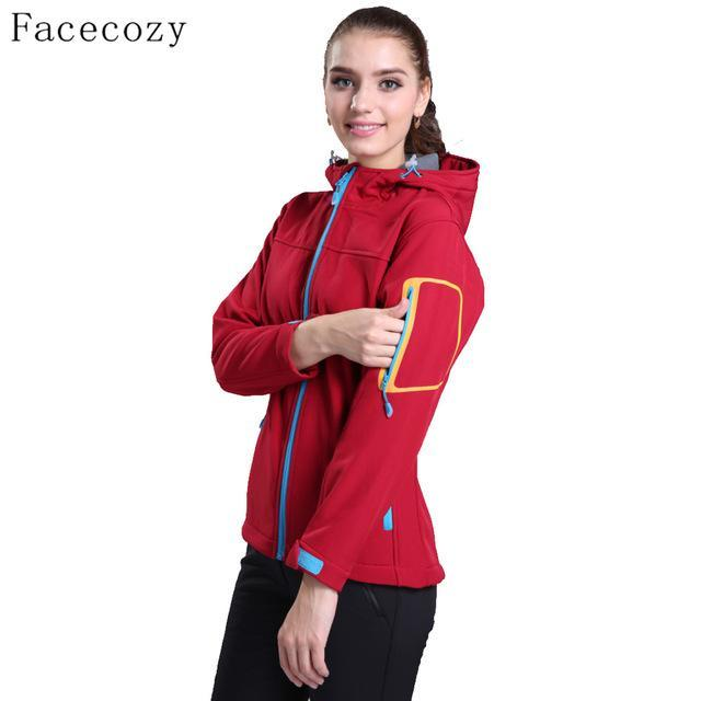 Facecozy Women Fishing Softshell Jacket Female Hooded Breathable Windproof Solid-Jackets-Bargain Bait Box-women red-S-Bargain Bait Box