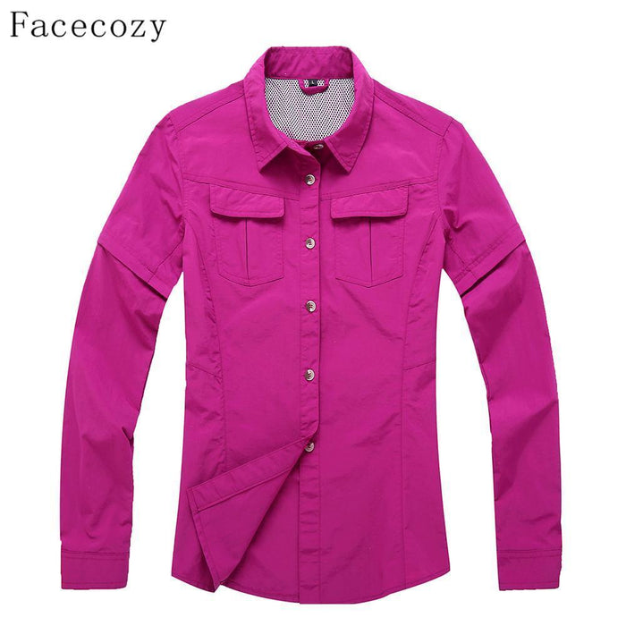Facecozy Women Outdoor Hiking & Camping Quick Dry Jacket Fishing&Hunting-Facecozy Official Store-lake blue-S-Bargain Bait Box