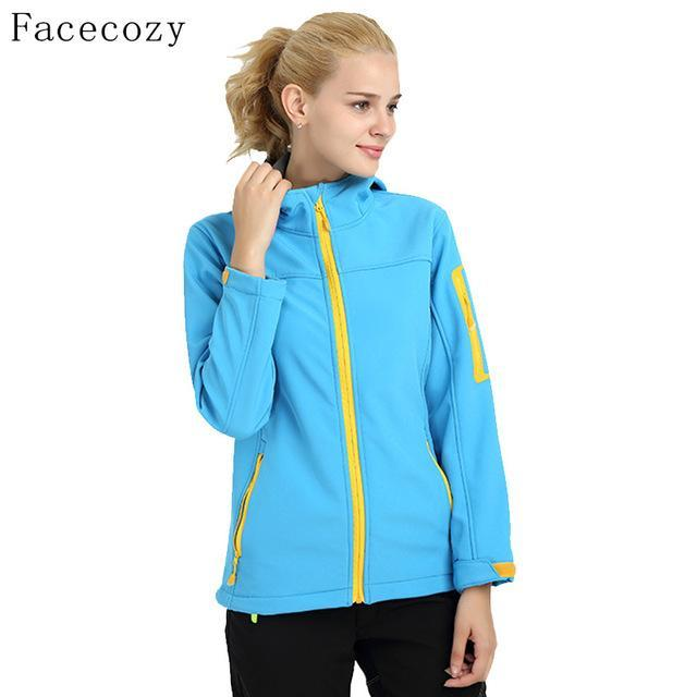 Facecozy Women Quick Dry Hooded Fishing Softshell Jacket Female Windproof-Jackets-Bargain Bait Box-lake blue-S-Bargain Bait Box