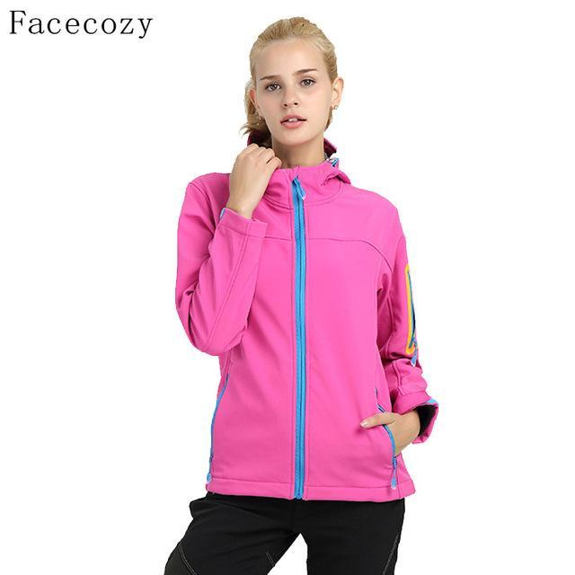 Facecozy Women Quick Dry Hooded Fishing Softshell Jacket Female Windproof-Jackets-Bargain Bait Box-pink-S-Bargain Bait Box