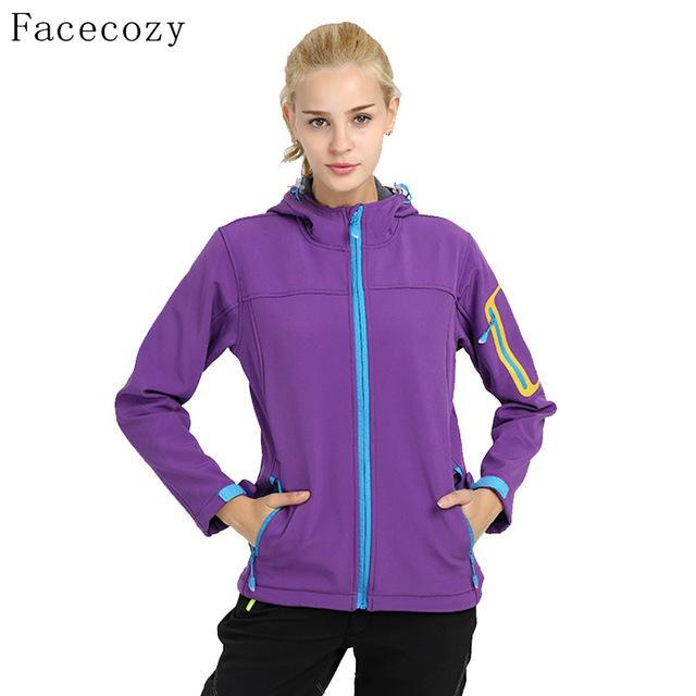 Facecozy Women Quick Dry Hooded Fishing Softshell Jacket Female Windproof-Jackets-Bargain Bait Box-purple-S-Bargain Bait Box