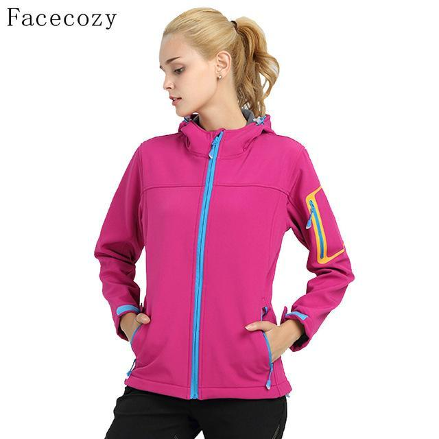 Facecozy Women Quick Dry Hooded Fishing Softshell Jacket Female Windproof-Jackets-Bargain Bait Box-rose red-S-Bargain Bait Box