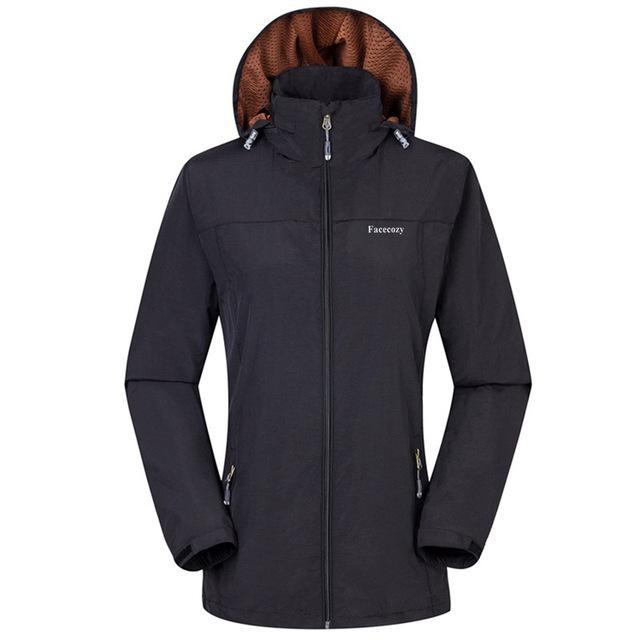 Facecozy Women Windproof Jackets One Layer Hooded Thin Breathable Coat-Jackets-Bargain Bait Box-Black-S-Bargain Bait Box