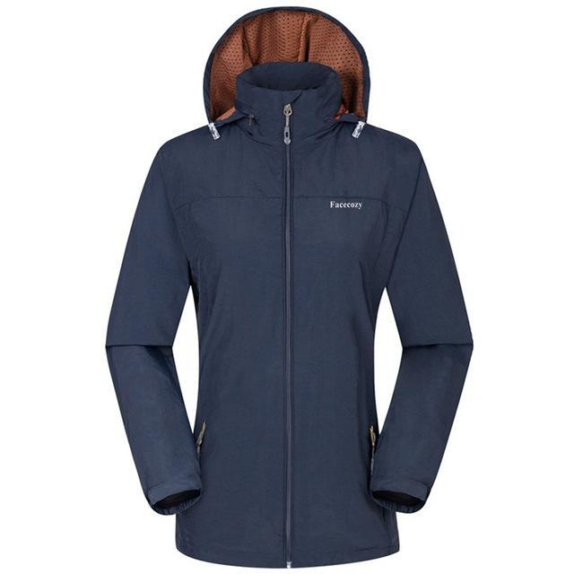 Facecozy Women Windproof Jackets One Layer Hooded Thin Breathable Coat-Jackets-Bargain Bait Box-Navy Blue-S-Bargain Bait Box