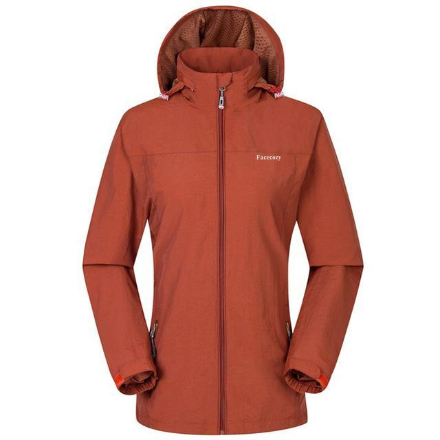 Facecozy Women Windproof Jackets One Layer Hooded Thin Breathable Coat-Jackets-Bargain Bait Box-Orange-S-Bargain Bait Box