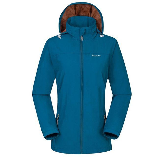 Facecozy Women Windproof Jackets One Layer Hooded Thin Breathable Coat-Jackets-Bargain Bait Box-Peacock Blue-S-Bargain Bait Box