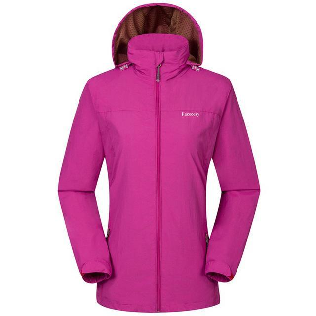 Facecozy Women Windproof Jackets One Layer Hooded Thin Breathable Coat-Jackets-Bargain Bait Box-Rose Red-S-Bargain Bait Box
