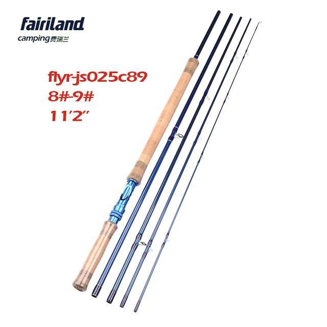 Fairiland 5 Sections 11.2Ft Fly Fishing Rod 6#/7#/8#/9# Saltwater/Freshwater-Fly Fishing Rods-Bargain Bait Box-Black-Bargain Bait Box