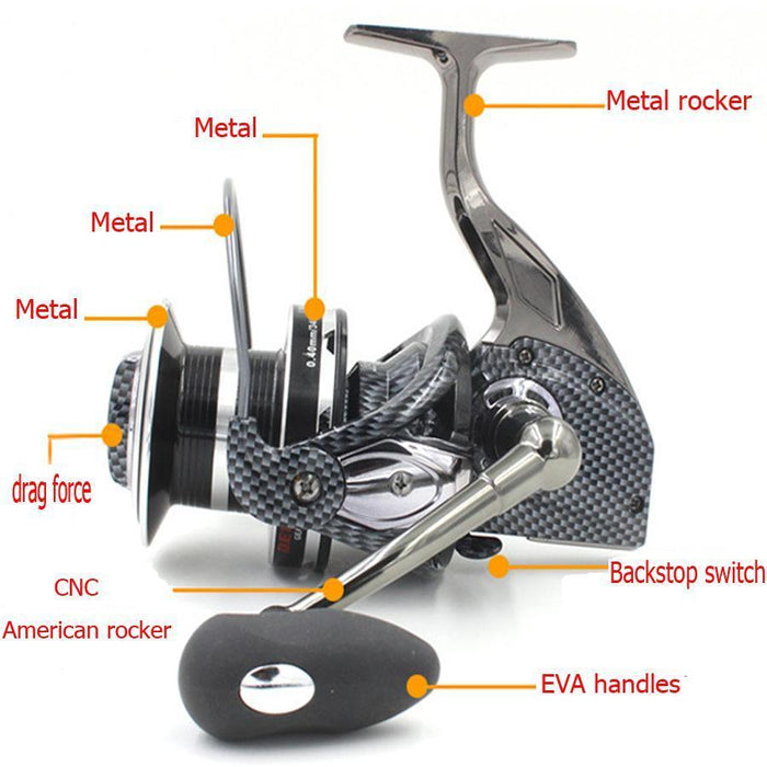 Fddl 10000 Series 12+1Bb All-Metal Line Cup Spinning Reel Large Long Shot-Spinning Reels-FirstSport Store-Bargain Bait Box