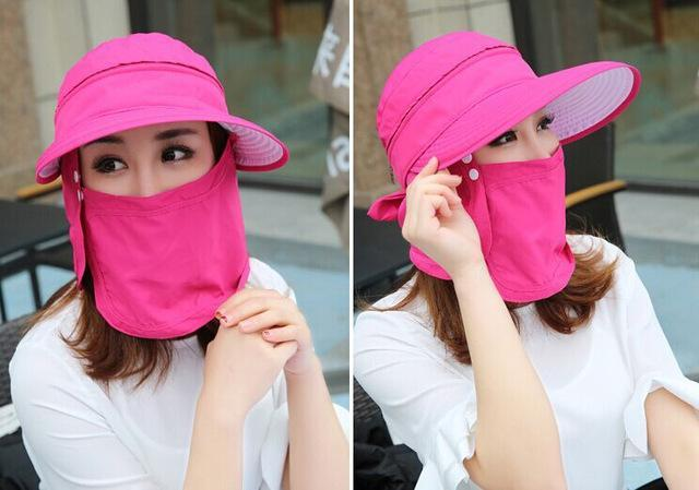 Female Removable Quick Dry Sun Hat Womens Face Uv Protection Fishing Bucket-Anti-Mosquito-Bargain Bait Box-rose-S-Bargain Bait Box
