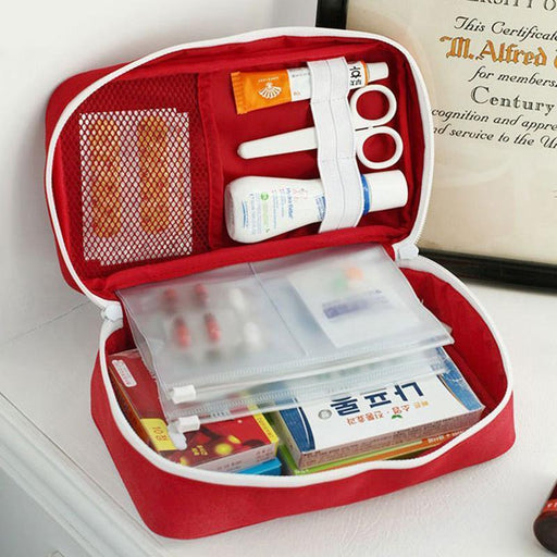 First Aid Kit Storage Bag Case Pouch Home Office Medical Emergency Empty-Emergency Tools & Kits-Bargain Bait Box-Red-Bargain Bait Box