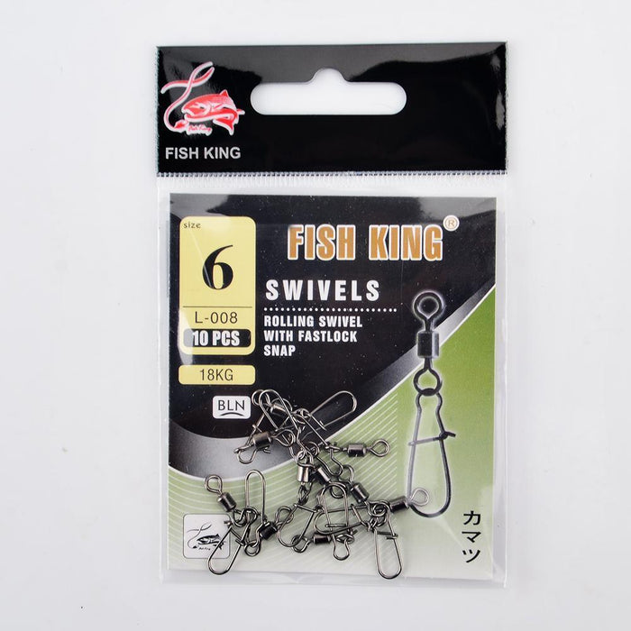 Fish King 1/0# 3/0# 2# 4# 6# 8# 10# 12# Fishing Rolling Swivel With Fast Lock-FISH KING First franchised Store-Size01 5PCS Per Pack-Bargain Bait Box