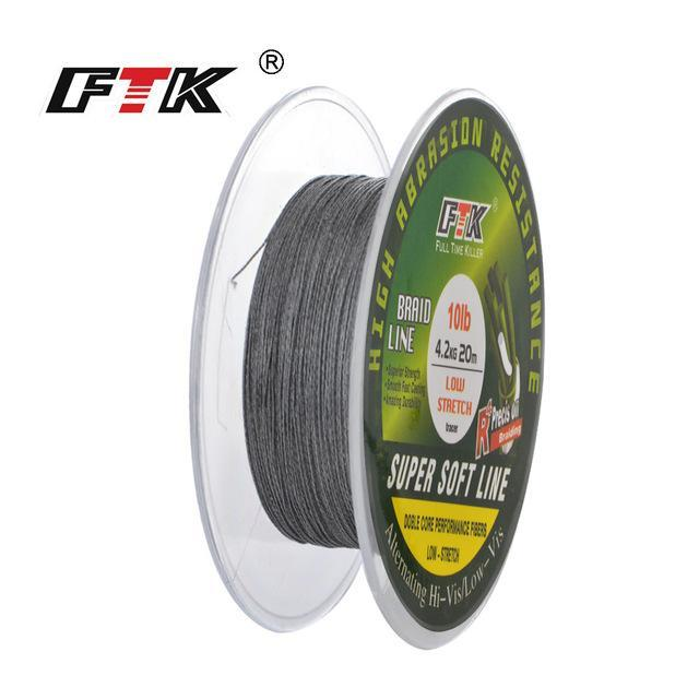 Fish King 20M Pe Braided Fishing Line Ice Fishing 4 Stands 8Lb- 28Lb-FISH KING First franchised Store-grey-0.1-Bargain Bait Box