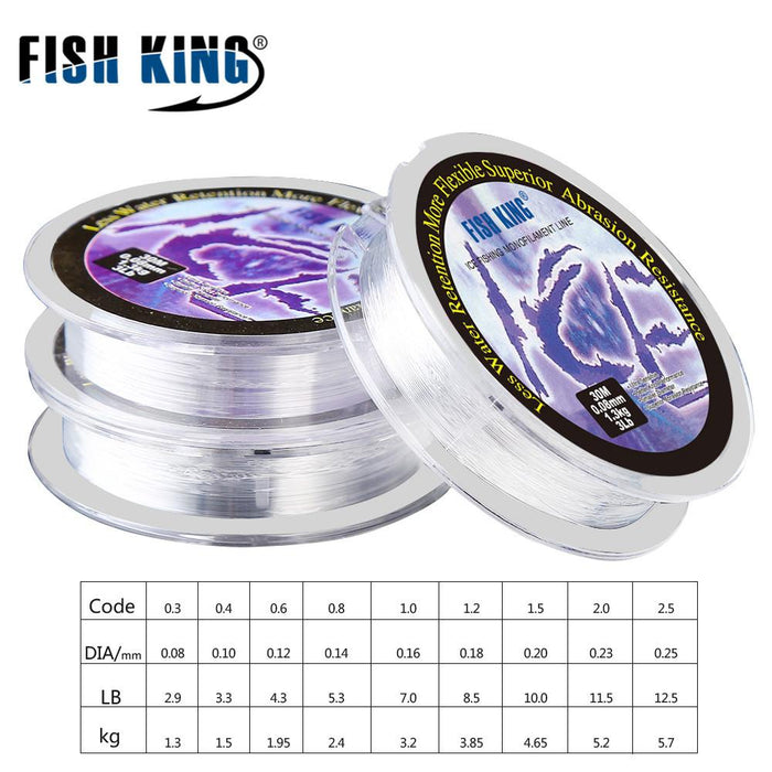 Fish King Ice Fishing Pole 30M Line Dia/0.08Mm-0.25Mm For Writer Ice Lake-FISH KING Official Store-0.3-Bargain Bait Box