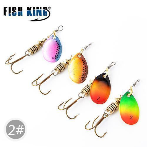 Fish King Mepps 1#-5# 4Pcs/Lot Spinner Bait Spoon Lures With Mustad Treble Hooks-FISH KING First franchised Store-SIZE 2-Bargain Bait Box