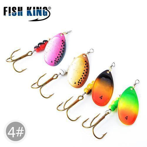 Fish King Mepps 1#-5# 4Pcs/Lot Spinner Bait Spoon Lures With Mustad Treble Hooks-FISH KING First franchised Store-SIZE 4-Bargain Bait Box