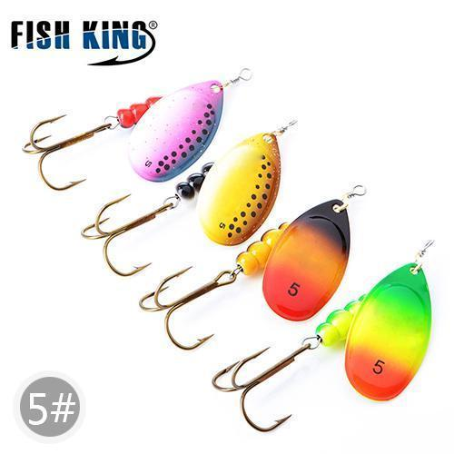 Fish King Mepps 1#-5# 4Pcs/Lot Spinner Bait Spoon Lures With Mustad Treble Hooks-FISH KING First franchised Store-SIZE 5-Bargain Bait Box