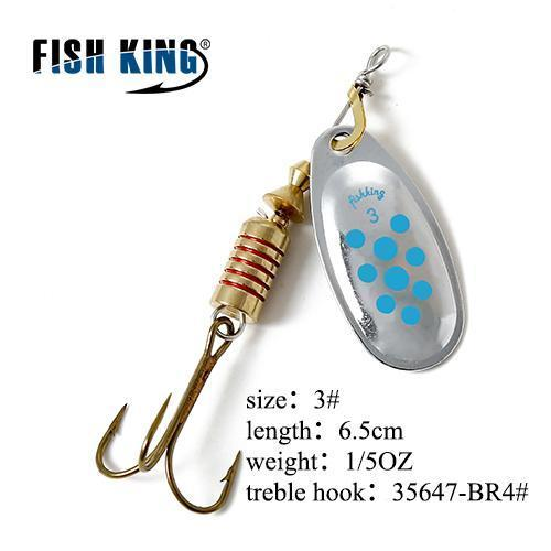 Fish King Mepps 1Pc 1# 2# 3# 4# 5# Fishing Lure Bass Hard Baits Spoon With-FISH KING Official Store-Dark Grey-Bargain Bait Box