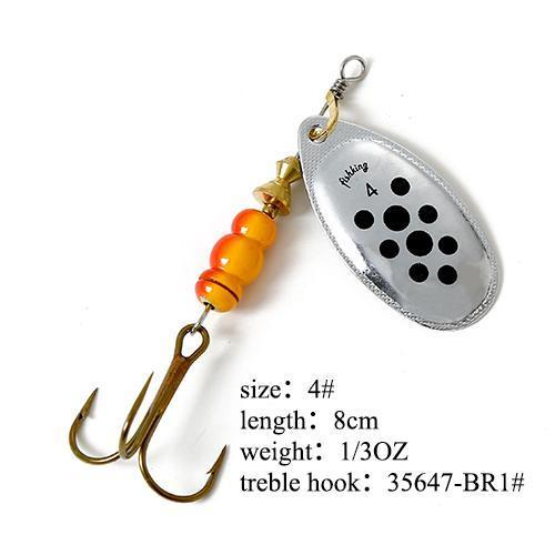 Fish King Mepps 1Pc 1# 2# 3# 4# 5# Fishing Lure Bass Hard Baits Spoon With-FISH KING Official Store-Light Grey-Bargain Bait Box