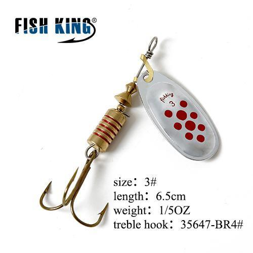 Fish King Mepps 1Pc 1# 2# 3# 4# 5# Fishing Lure Bass Hard Baits Spoon With-FISH KING Official Store-Orange-Bargain Bait Box