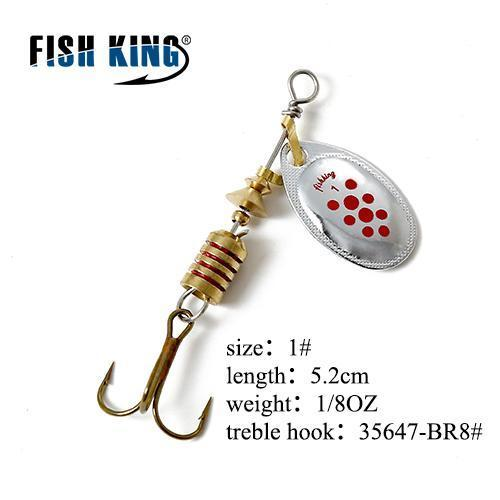 Fish King Mepps 1Pc 1# 2# 3# 4# 5# Fishing Lure Bass Hard Baits Spoon With-FISH KING Official Store-Purple-Bargain Bait Box