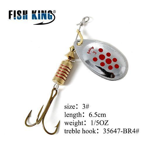 Fish King Mepps 1Pc 1# 2# 3# 4# 5# Fishing Lure Bass Hard Baits Spoon With-FISH KING Official Store-Red-Bargain Bait Box