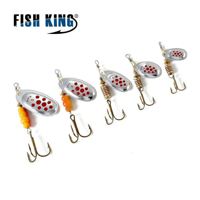 Fish King Mepps 1Pc 1# 2# 3# 4# 5# Fishing Lure Bass Hard Baits Spoon With-FISH KING Official Store-White-Bargain Bait Box