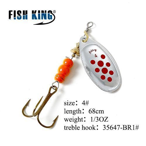 Fish King Mepps 1Pc 1# 2# 3# 4# 5# Fishing Lure Bass Hard Baits Spoon With-FISH KING Official Store-Yellow-Bargain Bait Box