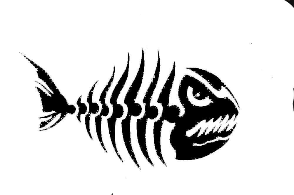 Fish Skelton Fishing Red Bass Grouper Deep Sea Window Sticker Vinyl Decal #348-Fishing Decals-Bargain Bait Box-Black-Bargain Bait Box