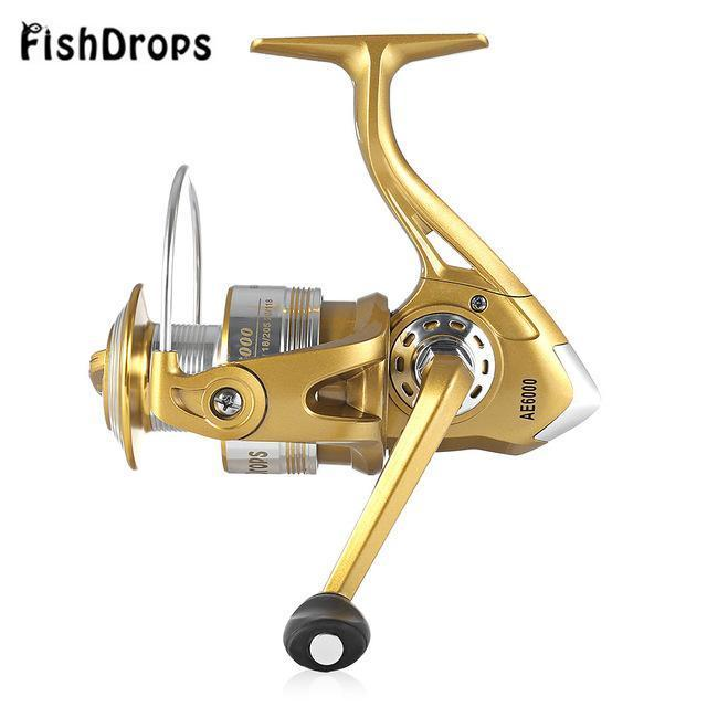 Fishdrops 12 + 1Bb Golden Fly Fishing Reel With Left Right Interchangeable-Spinning Reels-Shenzhen Outdoor Fishing Tools Store-1000 Series-Bargain Bait Box