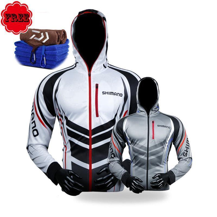 Fishing Clothing Hooded Men Jacket Waterproof Quick-Drying Coat Fishing Shirt-Dayiwa Store-L-black-Bargain Bait Box